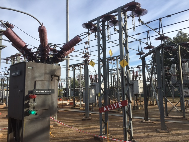 OpsPower operator providing safe access to 22kv circuit breakers, HV and LV busses, voltage transformers current transformers, sub transmission lines and feeders at an electricity zone substation for an upgrade in regional Victoria, Australia